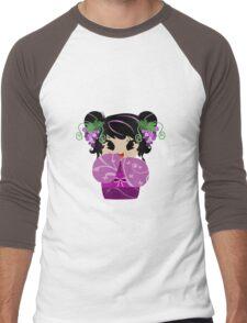 Purple Grapes Kokeshi Doll Men's Baseball ¾ T-Shirt
