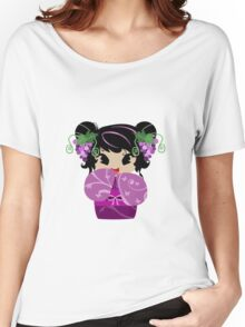 Purple Grapes Kokeshi Doll Women's Relaxed Fit T-Shirt