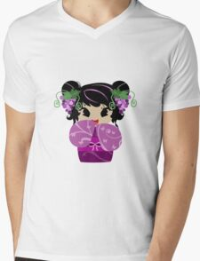 Purple Grapes Kokeshi Doll Mens V-Neck T-Shirt