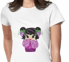 Purple Grapes Kokeshi Doll Womens Fitted T-Shirt