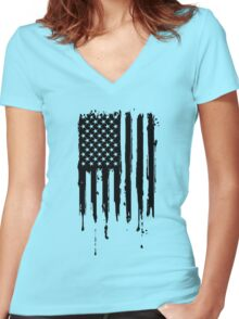 Dripping American Flag Black Women's Fitted V-Neck T-Shirt