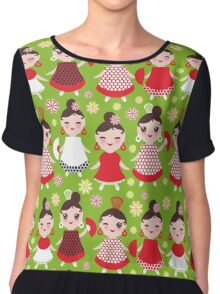 Happy flamencas on green Chiffon Top