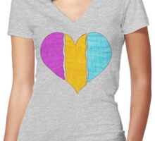 Pansexual Pride Flag Heart Women's Fitted V-Neck T-Shirt