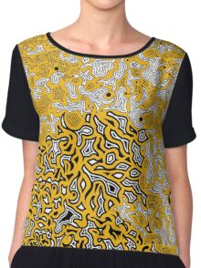Bled Out Gold Chiffon Top