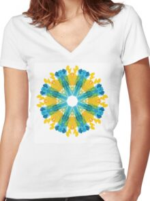 Watercolor flower Women's Fitted V-Neck T-Shirt