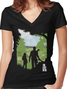 The Last of Us into the woods Women's Fitted V-Neck T-Shirt