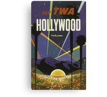 Fly TWA Hollywood California Vintage Travel Poster Canvas Print