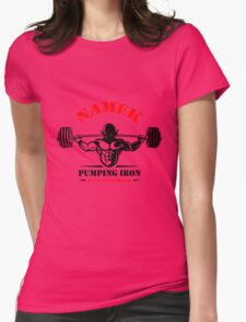 Namek Pumping Iron Gym Womens Fitted T-Shirt
