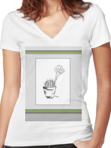 Cactus love (Echinopsis oxygona) Women's Fitted V-Neck T-Shirt