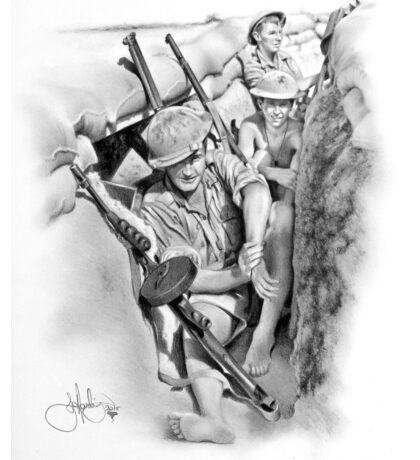ANZAC Aussie Diggers WW2 drawing Sticker
