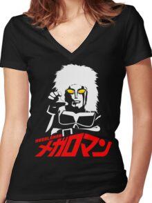 JAPAN CLASSIC SUPERHERO TOKUSATSU MEGALOMAN  Women's Fitted V-Neck T-Shirt