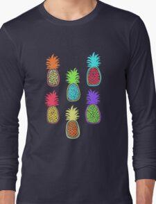 Colorful pineapple. Doodle art Long Sleeve T-Shirt