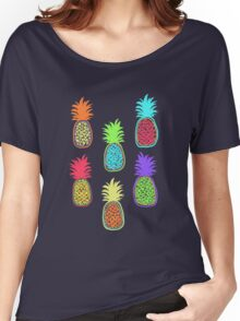 Colorful pineapple. Doodle art Women's Relaxed Fit T-Shirt