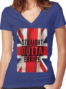Straight outta Europe Women's Fitted V-Neck T-Shirt