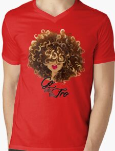 Go with the Fro Mens V-Neck T-Shirt
