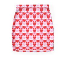 Love Heart Red Pink and White Check Pattern Mini Skirt