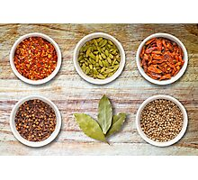 Spices in Pots on Old Wooden Chopping Board Photographic Print