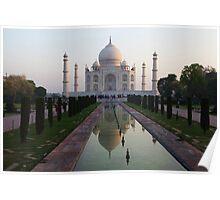 The Taj Mahal and reflective pool at dawn. Poster