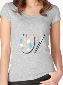 Art palette and paint brush Women's Fitted Scoop T-Shirt