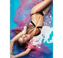 Glamorous woman in bikini lying in water art photo print Photographic Print