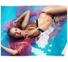 Beautiful woman in bikini lying in blue with red water art photo print Poster