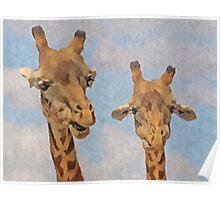 Hello Cute Little Giraffes  Poster