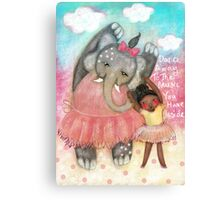 Dance, whimsical art, elephant, ballerina, nursery  Canvas Print