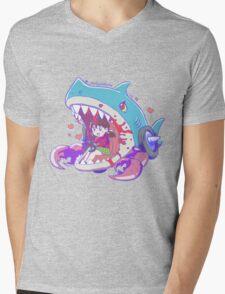 Devil Shark Mens V-Neck T-Shirt