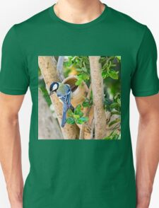 Great Tit (Parus major), is a passerine bird in the tit family Paridae.  Unisex T-Shirt