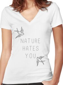 Nature Hates You Women's Fitted V-Neck T-Shirt