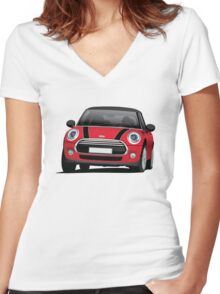 Mini Cooper S (Mini Hatch illustration) red - black Women's Fitted V-Neck T-Shirt