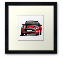 Mini Cooper S (Mini Hatch illustration) red - black Framed Print