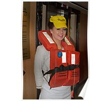 P&O Aurora  staff in life jacket Poster