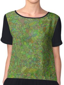 Green floral doodle Chiffon Top