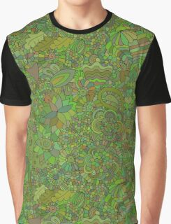 Green floral doodle Graphic T-Shirt