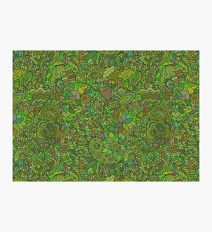 Green floral doodle Photographic Print