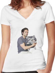 Sebastian Stan Women's Fitted V-Neck T-Shirt