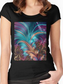 Colorful Abstract Fractal Art Women's Fitted Scoop T-Shirt