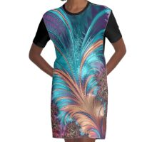 Colorful Abstract Fractal Art Graphic T-Shirt Dress