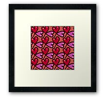 Cute valentine's seamless pattern with hearts Framed Print