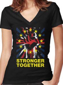 Stronger Together, UK Pro EU T-shirt Women's Fitted V-Neck T-Shirt