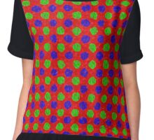 Polka Dot Fur Textured Red Green & Blue Pattern Chiffon Top