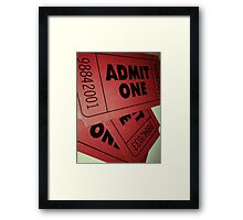 Vintage Admit One Film Ticket Poster (+card/prints) Framed Print