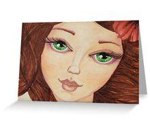 Close up green eye girl Greeting Card