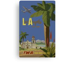 Los Angeles Fly TWA Trans World Air Lines Vintage Travel Poster Canvas Print