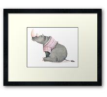 Cute sitting Rhino in knitted jersey. Framed Print