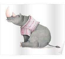 Cute sitting Rhino in knitted jersey. Poster