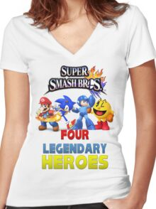 Super Smash Bros Four Legendary Heroes Women's Fitted V-Neck T-Shirt