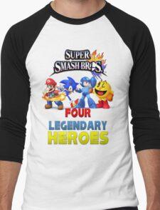 Super Smash Bros Four Legendary Heroes Men's Baseball ¾ T-Shirt