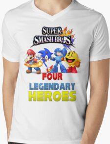 Super Smash Bros Four Legendary Heroes Mens V-Neck T-Shirt